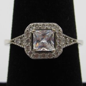 Vintage Size 7.25 Sterling Rustic Simple CZ Ring